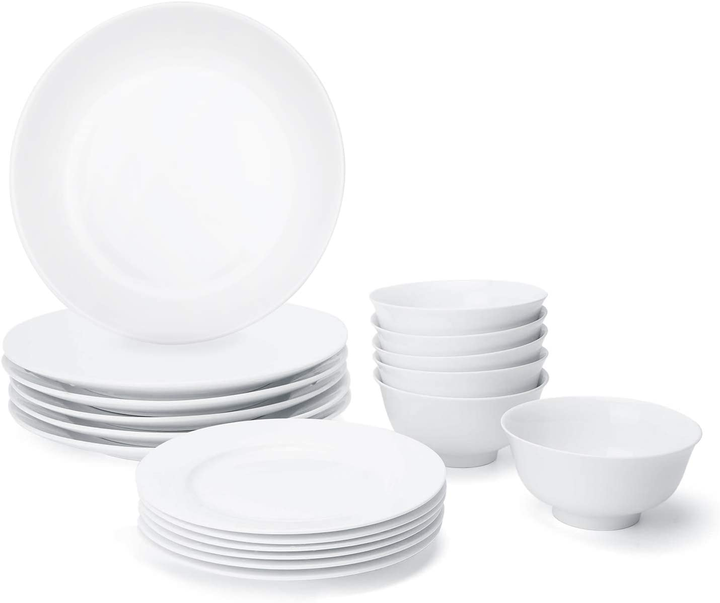 JRFY 18-Piece White Kitchen Dinnerware Set, Dishes, Bowls, Service for 6 (Bone China)
