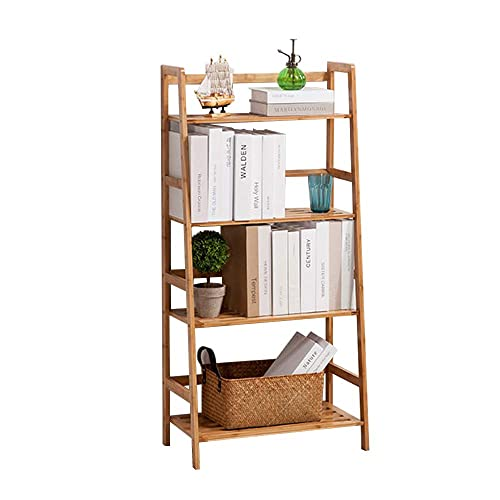 soges 4-Tier Bamboo Storage Shelf Rack, Bookcase Ladder Shelf Storage Organizer Multi-Functional Display Rack for Books, Photos, Plants, Daily Supplies in Home, Kitchen, Bathroom, Garden, KS-HSJ-02