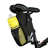 MOOZO Bike Saddle Bag, Bicycle Rear Under Seat Bike Storage Saddle Bag Pannier, Bottle Pocket Pouch Bicycle Tail Pack for Mountain Road MTB Bike Water Bottle/Repair Tools Kit Pocket Riding Cycling