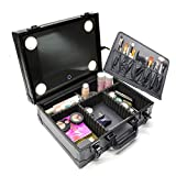 Portable Lighted Mirror Makeup Train Case Bad Professional Travel Organizer with Mirror and Lights Black (Black)