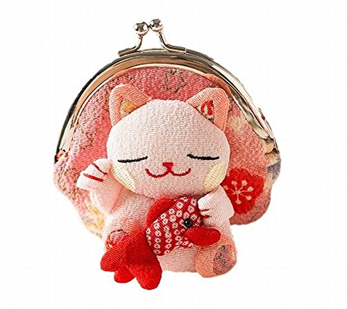 [POJ Japanese Style Coin Purse [Green / Yellow / Pink / Blue ] Lucky Cat (Manekineko) Pattern Cosplay Goods] (Disney Group Costumes Ideas)