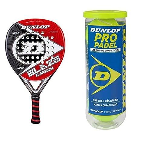 Pala Dunlop Blaze Carbón con 3 Pelotas Dunlop Pro: Amazon.es: Deportes y aire libre