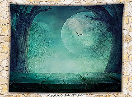 Halloween Decorations Fleece Throw Blanket Spooky Forest Full Moon and Vain Branches Mystical Haunted Horror Theme Rustic Decor Throw