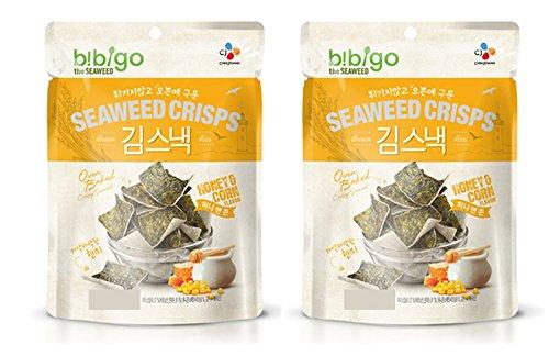 Baked Corn - Korean CJ Bibigo Oven Baked Brown Rice and Seaweed Crisps 20g (Pack of 2) (Honey & Corn)