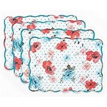 "Vintage Bloom Reversible Placemat 4 Pk, 14"" x 19"""