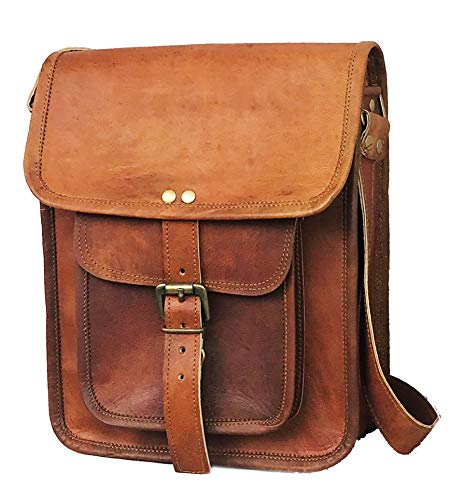 Leather I pad Messenger Satchel Bag Tablet Cross Body Shoulder Bag 11 Inch