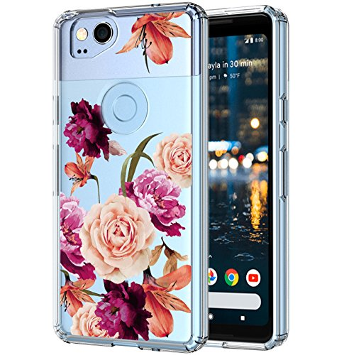 Google Pixel 2 Case Crystal Clear,LUHOURI Floral Case for girls, Transparent Plastic with Clear TPU Bumper Protective Back Phone Case Cover for Google Pixel 2