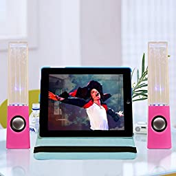 Kocaso Mini USB LED Fountain Light Dancing Water Loud Bass Music Speakers. Great for PC, MacBook, Laptop, MP3 Players, iPods, iPhone 7, iPads, Samsung Galaxy, HTC, Smart Android Windows Phones (Pink)