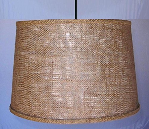 USA American Made by Lamp Shade Pro - Plug In (Chain or Cord Hung) Burlap Drum Swag Lamp Vintage Rustic Industrial Primitive Pendant Light Shade 15