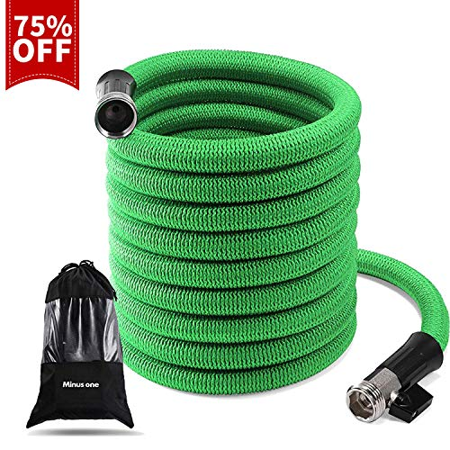 Garden Hose Expandable, 50 Ft Durable Flexible Stretch Water Hose Stand, Lightweight Cloth Collapsible Hose, Kinkless Outdoor Flex Compact Hose Heavy Duty with 3/4 Inch Anti-Rust Nickel Brass Bullet