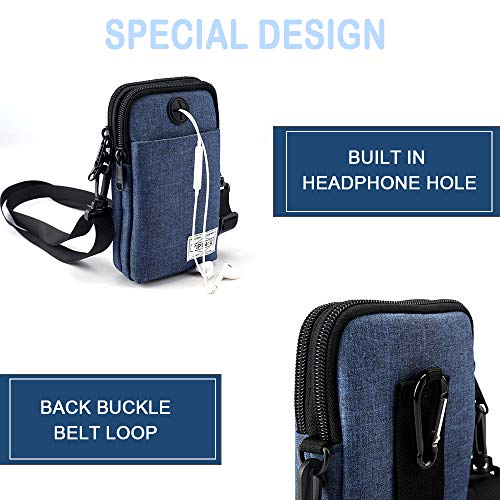Crossbody Waterproof Multi Hole Blue with Pocket Earphone Purse IHAYNER Bag Functional Wgn6f
