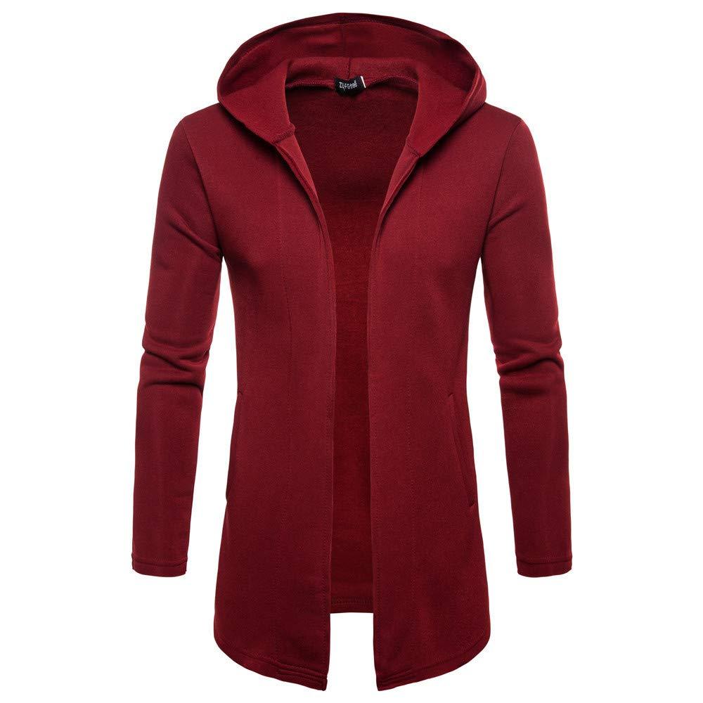 Faionny Mens Hooded Jacket Solid Coat Poket Windbreaker Long Sleeve Trench Coat Long Cardigan Coat Autumn Winter Outwear