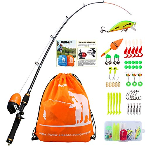 Pole with Spincast Reel Telescopic Fishing Rod Combo Full Kits for Boys, Girls, and Adults ()