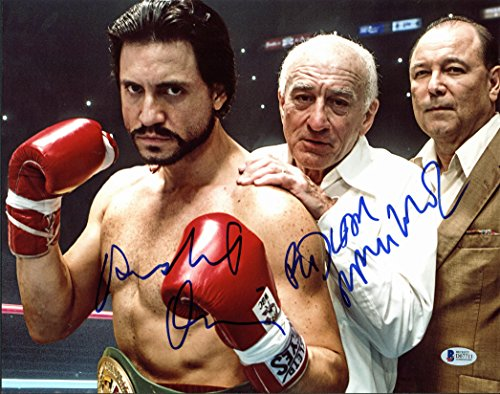 Robert Deniro & Edgar Ramirez Hands of Stone Signed 11x14 Photo BAS #D07711