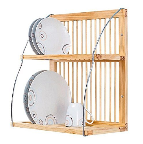 Strong Attractive Wood u0026 Metal Wall Mountable Plate / Mug Rack (H51.5  sc 1 st  Amazon UK & Wall Mounted Wooden Plate Rack - Large: Amazon.co.uk: Kitchen u0026 Home