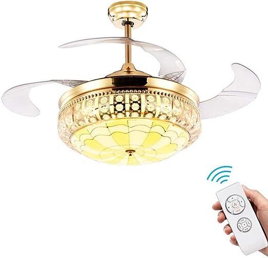 Luz del ventilador de techo con control remoto de cristal, 42