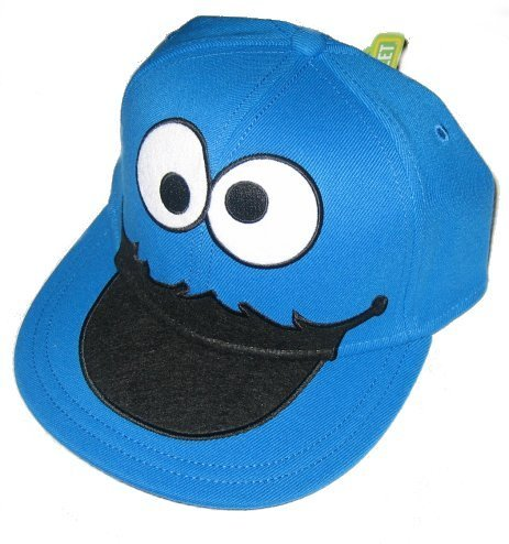 Sesame Street Cookie Monster Face Fitted Flat-bill Hat,Blue, One (Flat Bill Hat Monster)