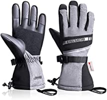 KINGSBOM Waterproof Ski & Snow Gloves, 3M Thinsulate Winter Warm Touch Screen Snowboard Gloves for Men & Women