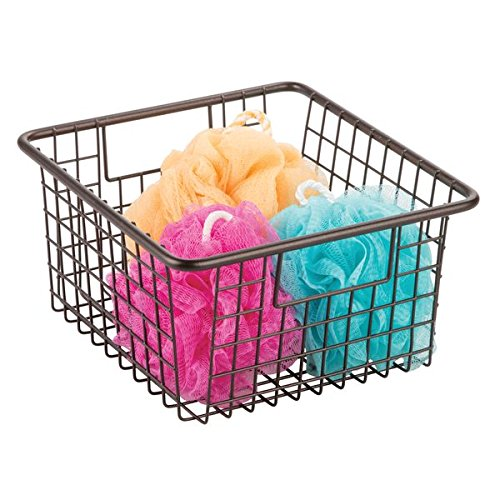 """mDesign Household Wire Storage Organizer Bin Basket with Built-In Handles for Bathroom Cabinets, Shelves, Closets, Bedrooms, Kitchens - 10.25"""" x 9.25"""" x 5.25"""", Bronze"""
