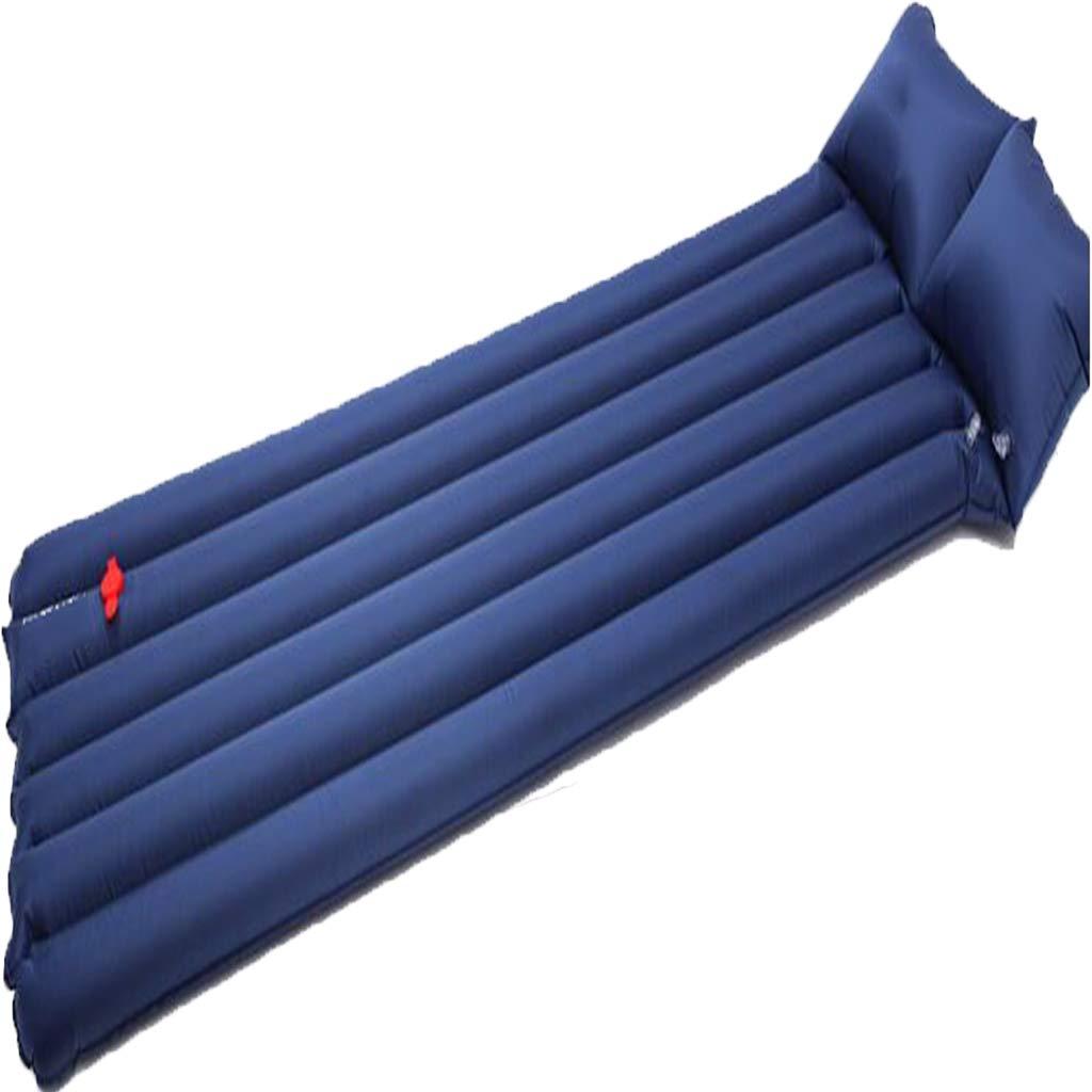 LYLLB-Air bed Outdoor Luftbett Automatische Aufblasbare Kissen Feuchtigkeit Pad Einzelne Schlafkissen Feuchtigkeit Pad Amphibische Dual-Use Kissen Horizontale Streifen NäHte Design Blau 180 X 47 cm
