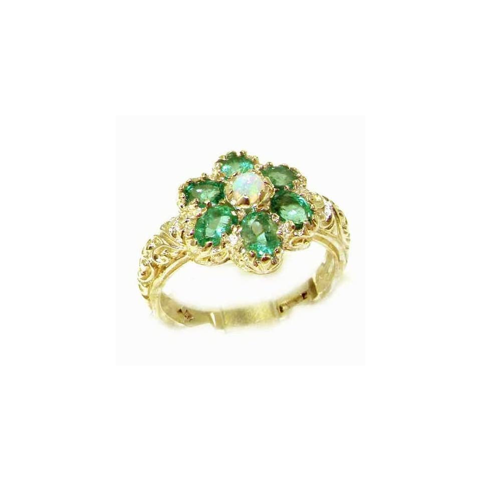 14k Yellow Gold Natural Opal and Emerald Womens Cluster Ring   Sizes 4 to 12 Available