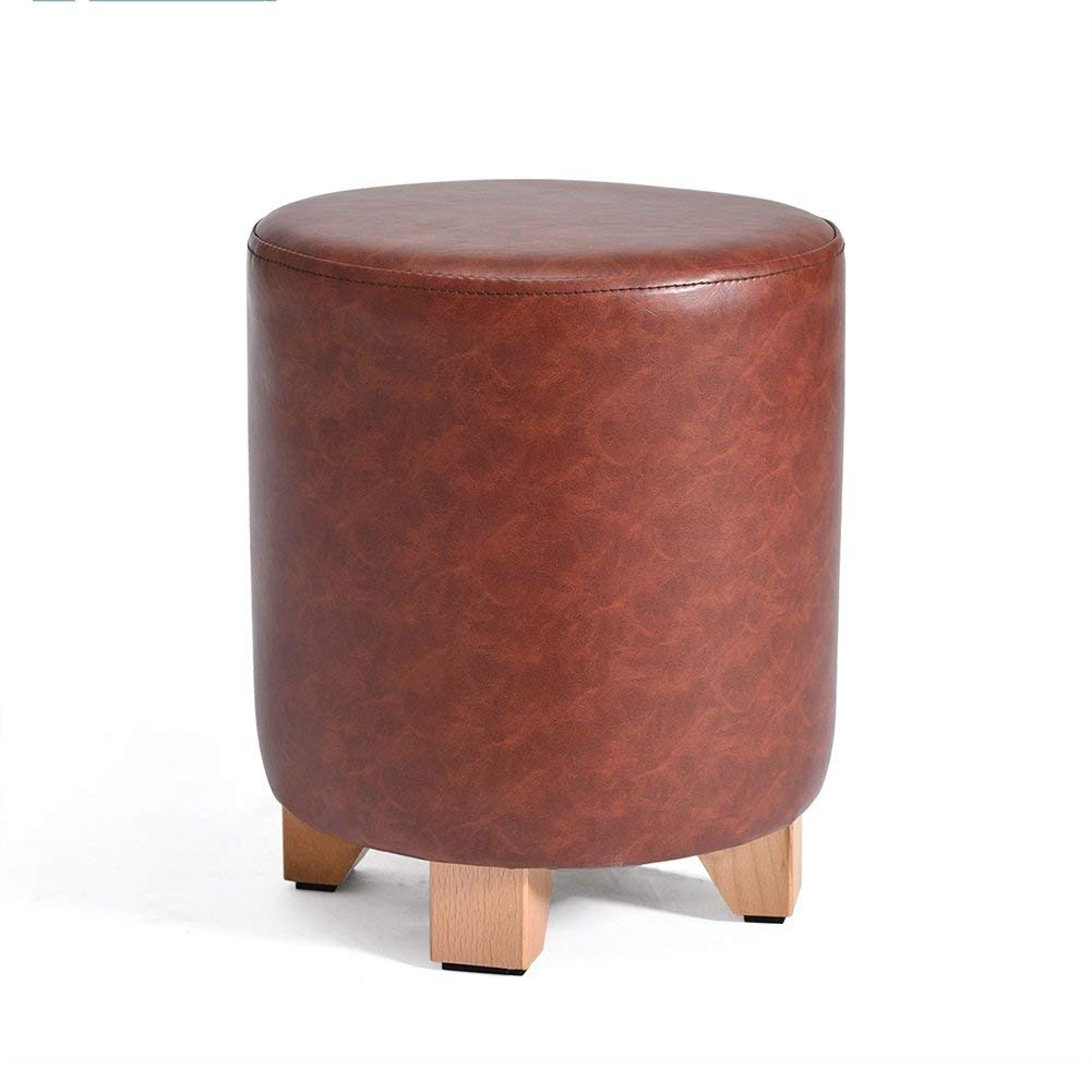 Large - Dark Red Ronggoutrade shoes Bench Round Pier Stool Sofa Stool Dressing Stool PU Leather Stool (color   Large - Black)