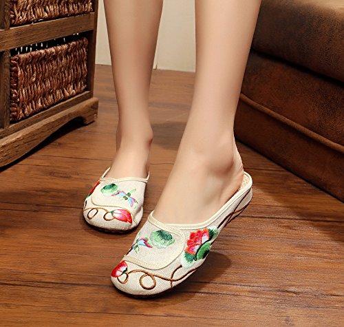 Feine gestickte Schuhe, Sehnensohle, ethnischer Stil, weiblicher Flip Flop, Mode, bequem, Sandalen  37|meters white