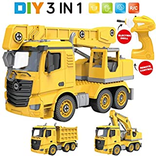 Take Apart Toys for Boys and Girls with Electric Drill, 3-in-1 Remote Control STEM Building Toys for Toddlers Kids, RC Crane, Excavator, and Dump Truck, Gifts for 3, 4, 5, 6, 7, Year Olds Kid