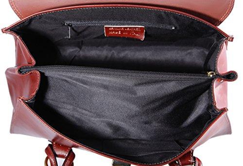 da in Donna Marrone 37x24x17cm 100 Italy Mano pelle Vera CTM Borsa made a Classica xPwTnR5