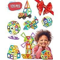 Magnetic Blocks - 128 pcs Large Set & Storage Box - 3D...