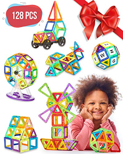 Magnetic Blocks - 128 pcs Large Set & Storage Box - 3D Building Educational Toys for Boys and Girls - Great for 3+ Years Old Toddlers and Kids - Tiles with Innovative Build Magnets - Great Gift! ()
