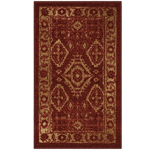 (Maples Rugs Kitchen Rug - Georgina 1'8 x 2'10 Non Skid Small Accent Throw Rugs [Made in USA] for Entryway and Bedroom, Red/Gold)