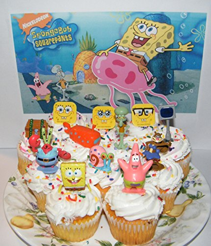 SpongeBob and Friends Deluxe Cake Toppers Cupcake Decorations Set of 12 with Figures and Rings Featuring Patrick, SB, Gary, Jellyfish, Treasure Chest and More!