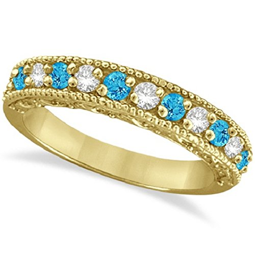 0.60ct Womens Blue Topaz Gemstone and Round Diamond Filigree Design Ring Band 14k Yellow Gold