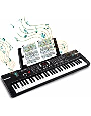 $36 » 61 Keys Keyboard Piano, Electronic Digital Piano with Built-In Speaker Microphone, Sheet Stand and Power Supply, Portable Keyboard Gift Teaching for Beginners - Black