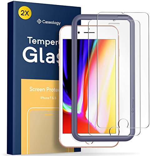 Caseology iPhone 8 Screen Protector with Guide Frame [Tempered Glass] [Easy Installation] for iPhone 8 / iPhone 7-2 Pack