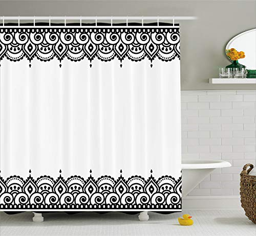 Shower Curtain by, Middle Eastern Ornamental Mehndi Style Henna Embellished Moroccan Pattern, Fabric Bathroom Decor Set with Hooks, 84 Inches Extra Long, Black and White ()