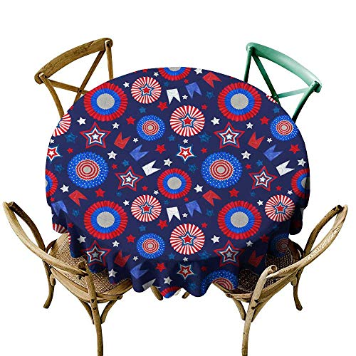 - SKDSArts Round Tablecloth Vinyl 4th of July Seamless Pattern with Tricolor Cockades and Stars on Dark Blue Background D36,Round Tablecloth