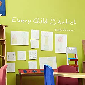 "Every Child Is An Artist - Inspirational Vinyl Quotes Wall Decal Decor Playroom Child Room (58x10"" Forest Green)"