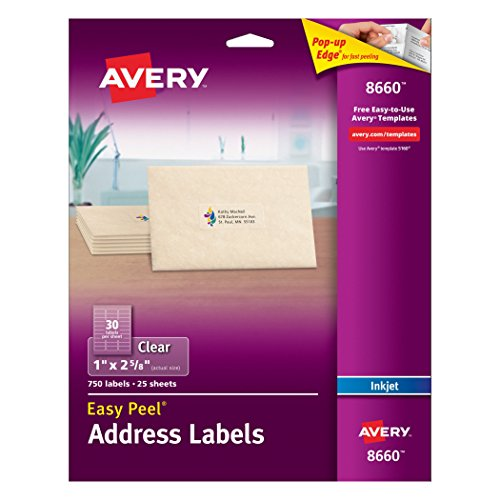 Avery  Clear Easy Peel Address Labels for Inkjet Printers 1' x 2-5/8', Pack of 750 (8660)