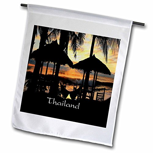 Florene Worlds Exotic Spots - Image of Tiki Huts Palms And Sunset In Thailand - 12 x 18 inch Garden Flag - Huts Thailand