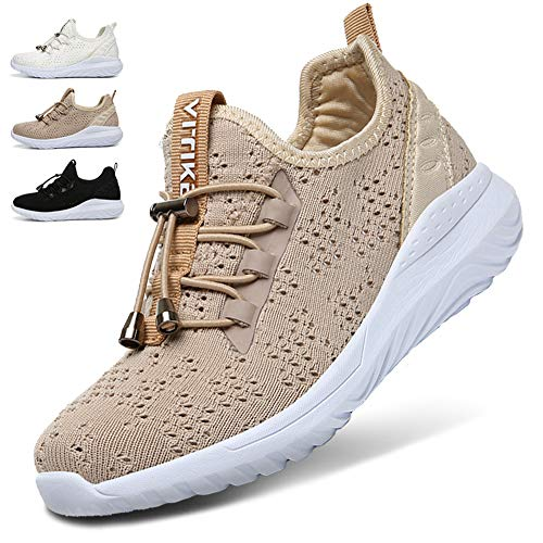 WETIKE Kids Shoes Boys Girls Sneakers Lightweight Sports Shoes Slip On Running Walking School Casual Shoes Trainer Shoes Knit Mesh Big Little Unisex Shoes Khaki Size 3