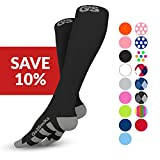 Go2 COMPRESSION SOCKS 2 Pair for Women and Men Athletic Running Socks for Nurses Medical Graduated Nursing Compression Socks for Travel Running Sports Socks(2BlackMed)