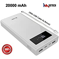 iMustech (Besiter) Power Bank 20000mAh,Battery Charger,Battery Pack,Quick Charger 3.0 with Micro and Type-C Dual-Input and Dual USB Ports, with 1 USB Cable,Power Bank for iPhones, Android (White)