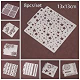 8pcs/Set DIY Craft Star Layering Stencils for Walls Painting Scrapbooking Stamp Album Decor Embossing Paper Card Template