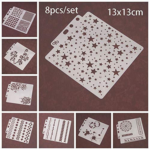 8pcs/Set DIY Craft Star Layering Stencils for Walls Painting Scrapbooking Stamp Album Decor Embossing Paper Card Template by ZDUANG (Image #7)