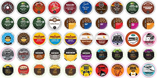 50-count K-cup REGULAR Coffee Variety Pack For Keurig Brewers Including Tim Horton's, Marley Coffee, Green Mountain, Coffee People, Newmans, Emerils, Guy Fieri, Brooklyn Bean, Donut Shop, Tully's