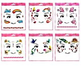 Spestyle waterproof and non toxic tattoo 6pcs mixes kids cartoon face fake temp tattoo stickers in a packages,including butterflies,hearts,kisses, rainbow,cloud,star face tattoos