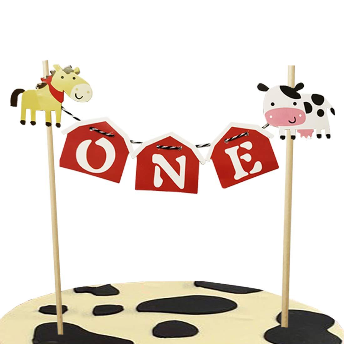 Swell Barn Farm Animals 1St Birthday Cake Topper Cow Farmhouse First Personalised Birthday Cards Veneteletsinfo