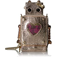 Betsey Johnson WOMEN METALLIC GOLD RETRO ROBOT WITH BOW AND PINK HEART CROSSBODY